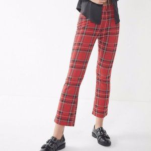 Urban Outfitters Casey Red Plaid Kick Flare Pant